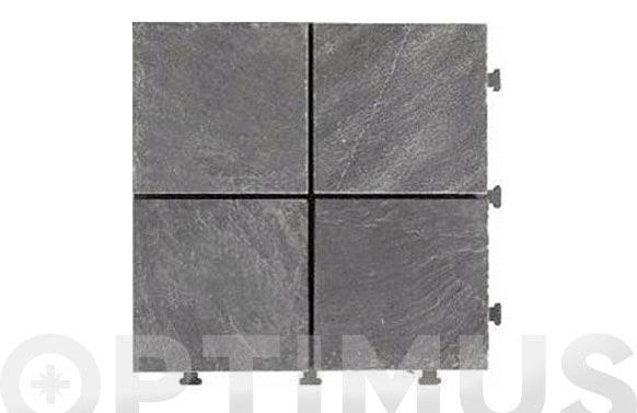 Loseta click piedra pizarra x4 30x30x2,8 cm