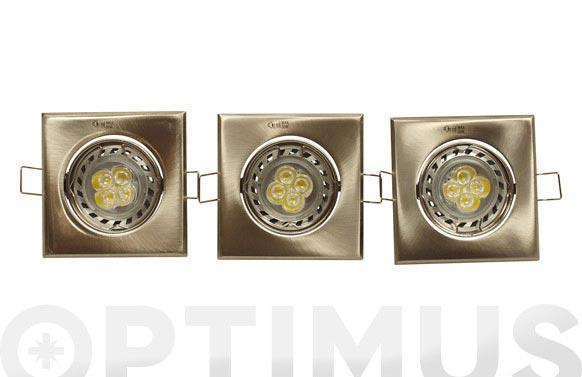 Empotrable led 5w basculante cuadrado 3 unidades niquel-6000k