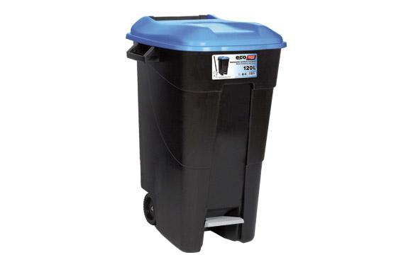 Contenedor negro con pedal 120 l-tapa azul