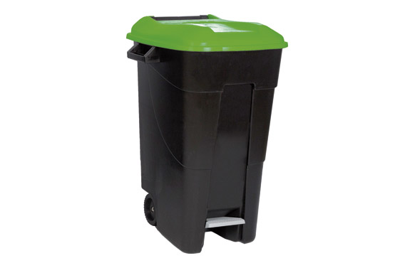 Contenedor negro con pedal 120 l-tapa verde