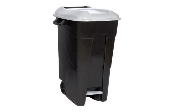 Contenedor negro con pedal 120 l-tapa gris
