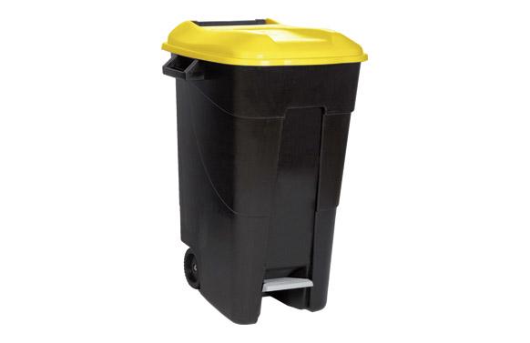 Contenedor negro con pedal 120 l-tapa amarilla