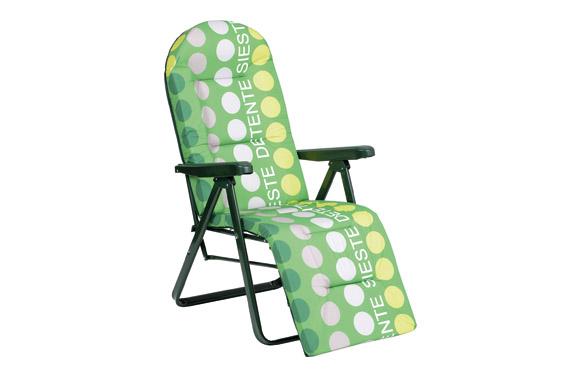 Sillon tumbona relax 5 posiciones acero verde topos