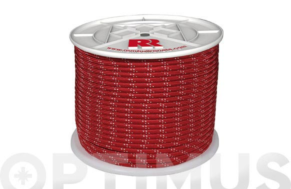 Cuerda poliester trenzada roja 8mm-200 mt