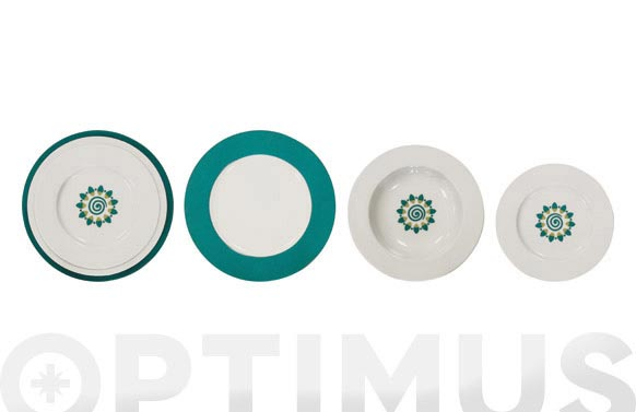 Vajilla porcelana decorada 20 pz espiral verde mar