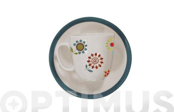 Tazas cafe porcelana jgo 6u farr spiral verde mar