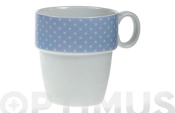 Mug apilable porcelana ambit mini topos azul