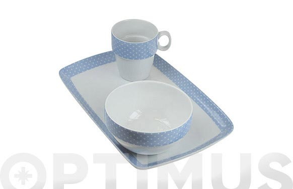 Bol apilable porcelana ambit mini topos azul