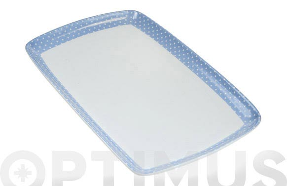 Bandeja porcelana decorada 31x20 mini topos azul
