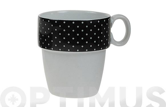 Mug apilable porcelana mini topos negro
