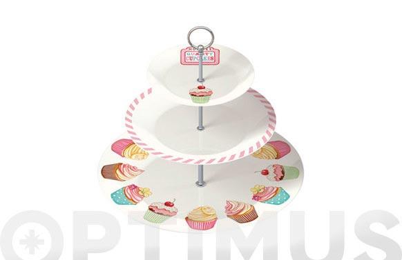 Bandeja con soporte 3 alturas first 5130525-cupcakes