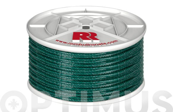 Cuerda pe plastificada verde 5mm-100 mt