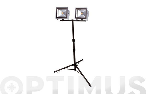 Foco proyector led 2 x 30 w con tripode 4800 lumens luz fria