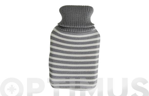 Bolsa agua caliente forro lana 1 l rayas gris