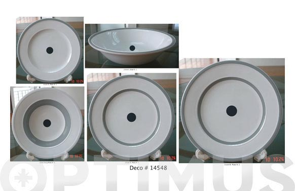Vajilla porcelana decorada 20 pz 14548-punto gris