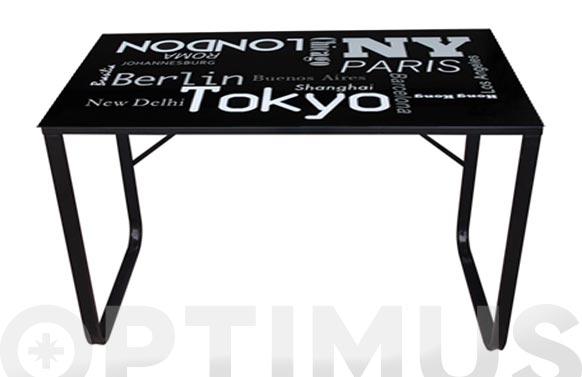 Mesa acero cristal litografiado cities 120 x 60 cm