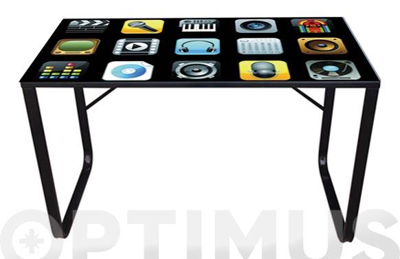 Mesa acero cristal litografiado iphone 120 x 60 cm
