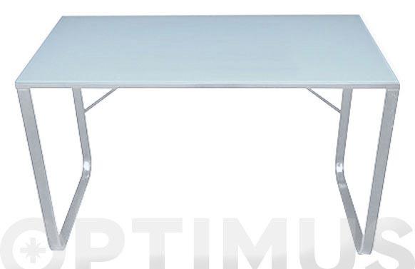 Mesa acero cristal litografiado blanco 120 x 60 cm