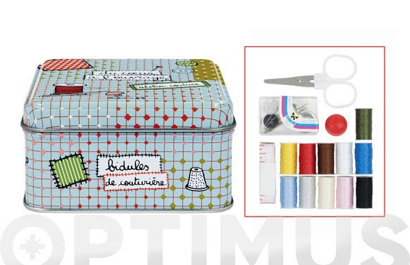 Caja metal mini + set costura 8,5x8,5x4,5cm
