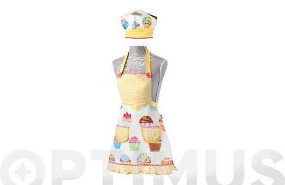 Delantal + gorro infantil lulu 5229-cup cakes