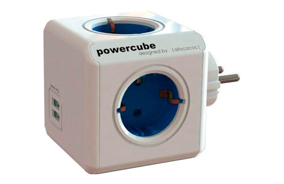 Adaptador powercube 4t + 2usb azul