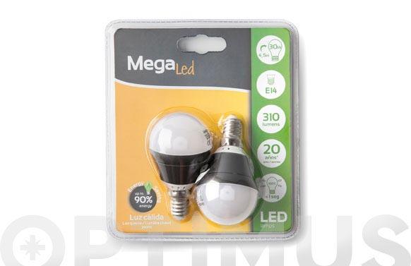 Lampara led mini esferica (2uni) 4,5w e-14 luz calida (3000k)