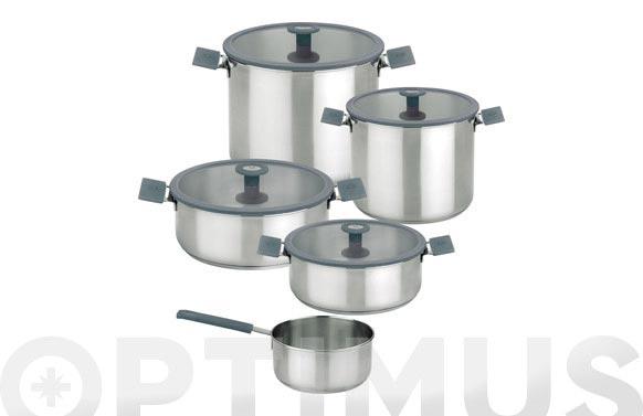 Bateria cocina inox/silicona 5 piezas color steel gris