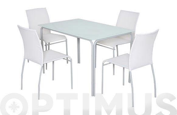 Mesa acero gris cristal 117 x 77 x 72 cm