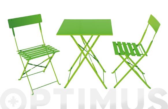 Mesa 60 x 60 cm + 2 sillas plegables pistacho