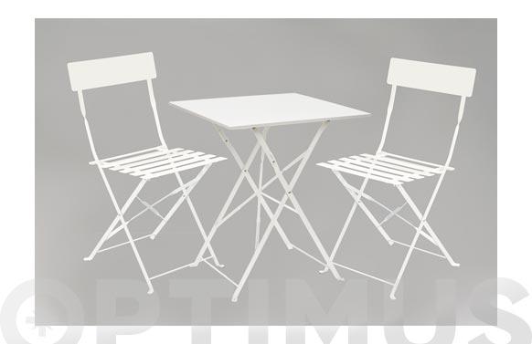 Mesa 60x60 cm +2 sillas plegables blanco