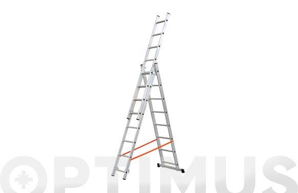 Escalera aluminio profesional triple combinada 3x9 peld