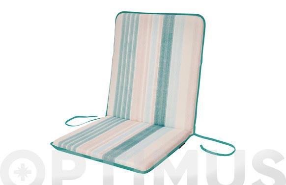Cojin silla + respaldo algodon (set 2 uds) rayas / esmeralda