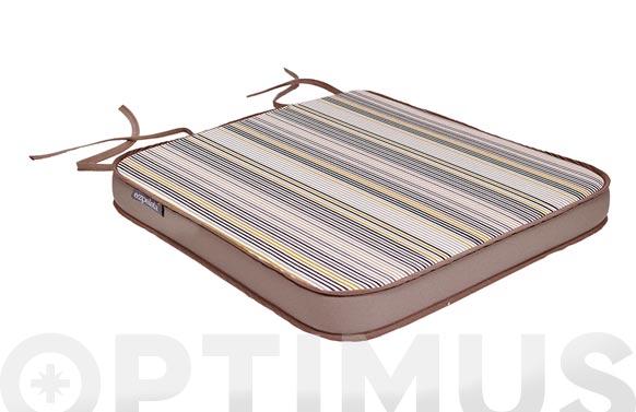 Cojin asiento dralon (set 2u) rayas/taupe