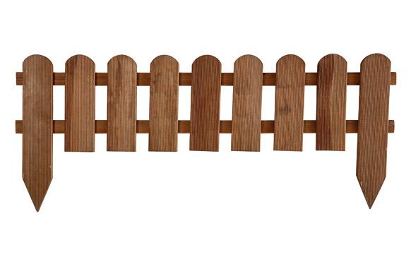 Bordura minivalla madera panorama redondeada marro 28 x 110 cm poste fijacion 45 cm