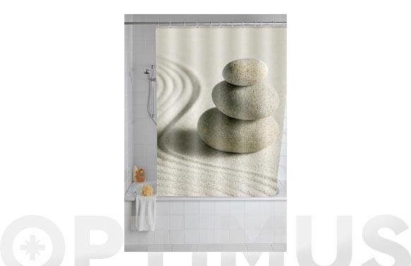 Cortina baño poliester piedras y arena 1.80 x 2.00 m