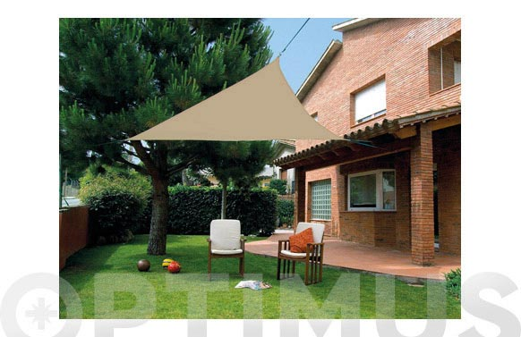 Toldo vela sombreo impermeable triangular 3,6 x 3,6 x 3,6 m marron