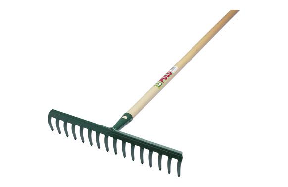 Rastrillo 12 dientes curvos (8 x 29,5 cm) con mango de madera de 130 cm.