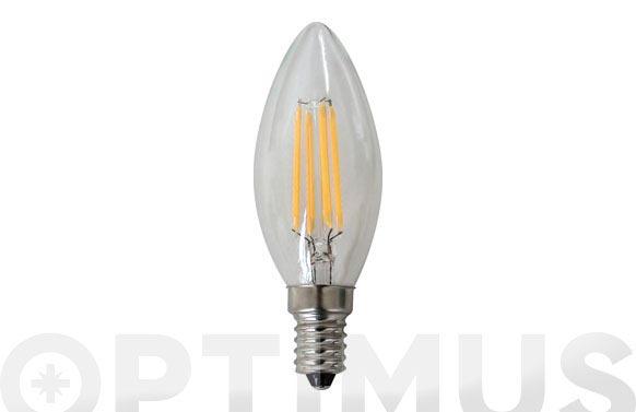 Lampara vela filamento led 4w 380lm e14 luz calida