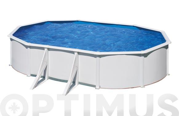 Piscina acero ovalada filtro arena 730x375x120 cm blanca