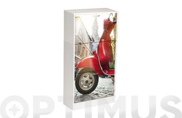 Zapatero decorado moto 117 x 60 x 24 cm