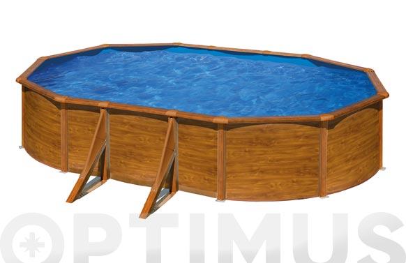 Piscina acero ovalada filtro cartucho 3,8m3 500x300x120 cm madera