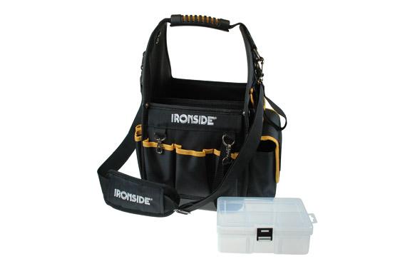Bolsa porta herramientas multibolsillos 215 x 215 x 230 mm con cinta bandolera