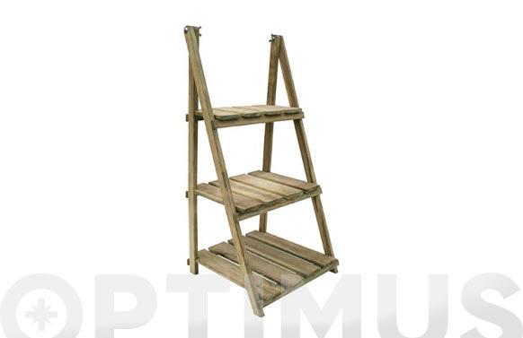 Estanteria plegable madera 3 baldas a44xf42xh100 cm