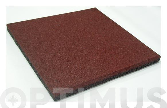 Loseta caucho granulado 50x50x2 cm rojo