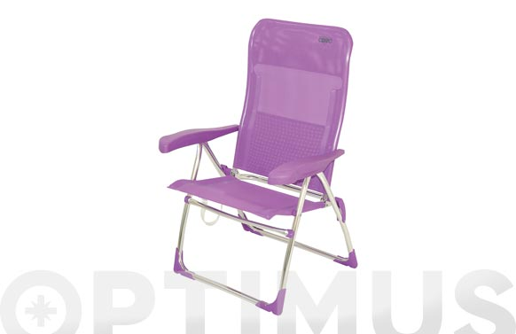 Silla alta posiciones aluminio playa multifibra lila