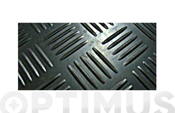 Pavimento caucho estribera checker negro rollo de 10 m. x 1,4 m. de ancho