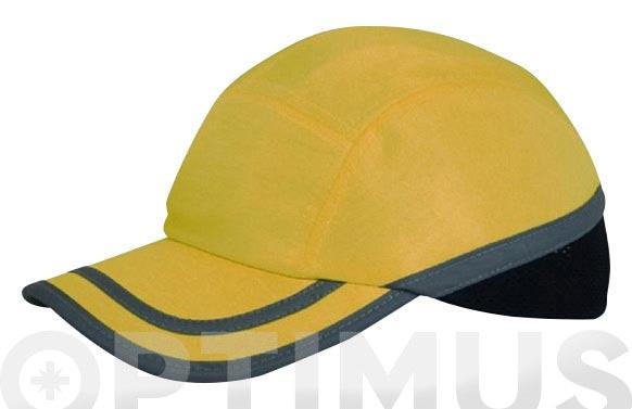 Gorra antigolpes amarilla talla unica con banda reflectante