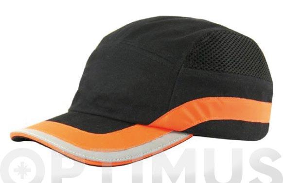 Gorra antigolpes negra / naranja talla unica con banda reflectante
