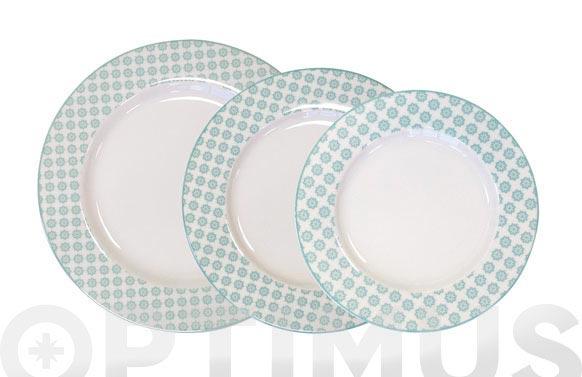 Vajilla porcelana decorada 2op banda cenefa verde