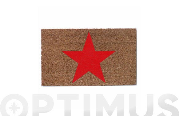 Felpudo coco natural estrella 73x43-roja